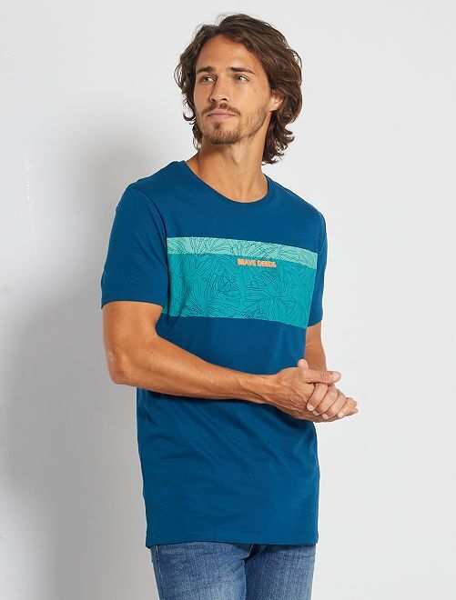 T-shirt imprimé 'éco-conception'                                                                                                                                         bleu canard/brave