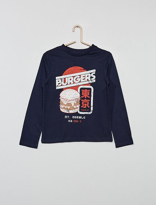 T-shirt imprimé 'éco-conception'                                                                                                     bleu nuit Garçon