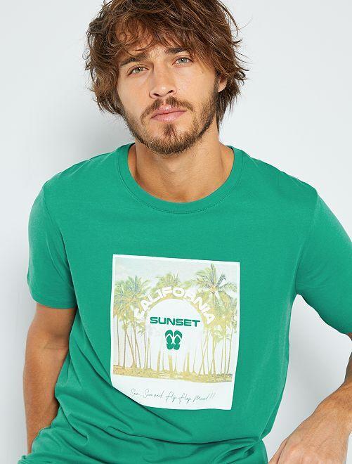 T-shirt imprimé 'éco-conception'                                                                                                                                                                                                                 bleu vert