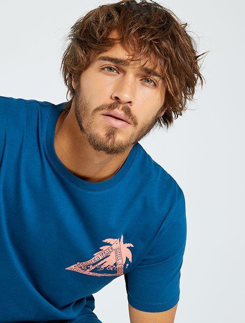 T-shirt imprimé 'éco-conception'                                                                 bleu/palmier