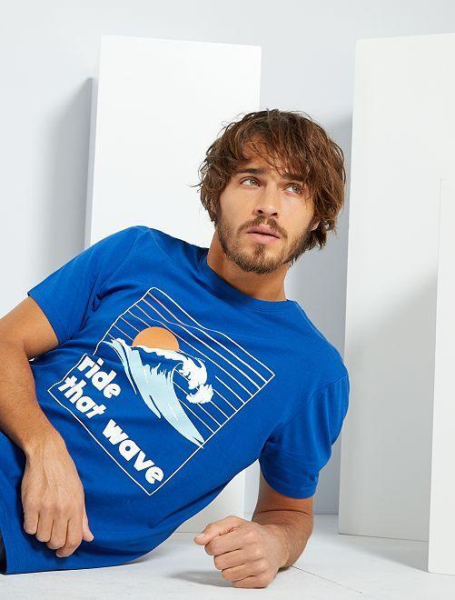 T-shirt imprimé 'éco-conception'                                                                                                                                                                                                                 bleu/vague
