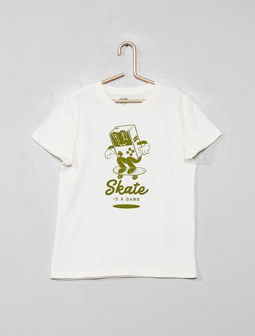 T-shirt imprimé 'éco-conception'                                                                                                                                                     crème/skate