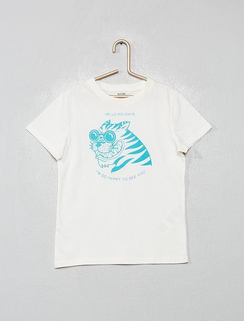 T-shirt imprimé 'éco-conception'                                                                                                                                                     crème/tigre