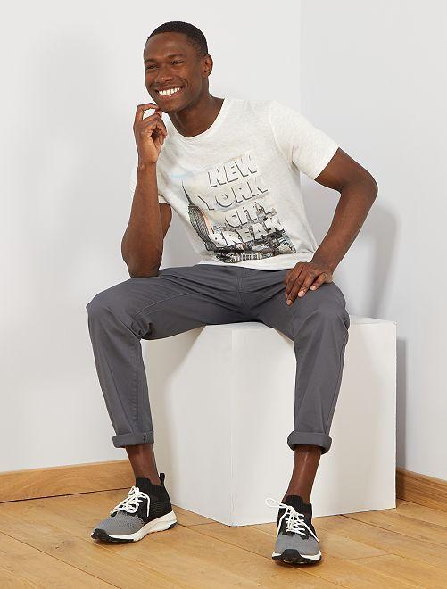 T-shirt imprimé 'éco-conception'                                                                                                                                                                                                                                                     écru chiné new york