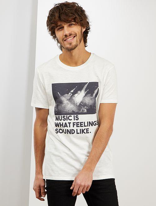 T-shirt imprimé 'éco-conception'                                                                 écru music