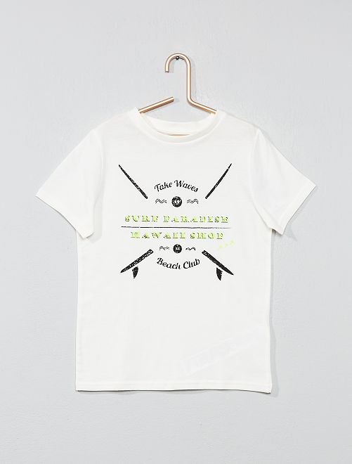 T-shirt imprimé 'éco-conception'                                                                                                                                                                             écru surf Garçon