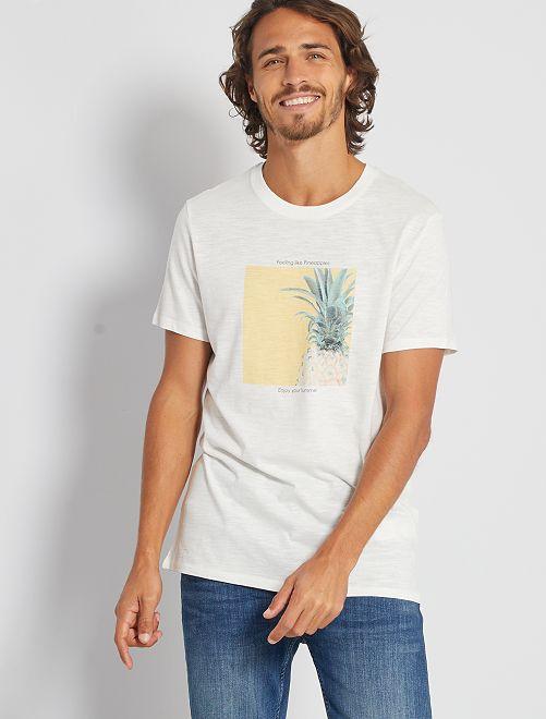 T-shirt imprimé 'éco-conception'                                         écru/ananas