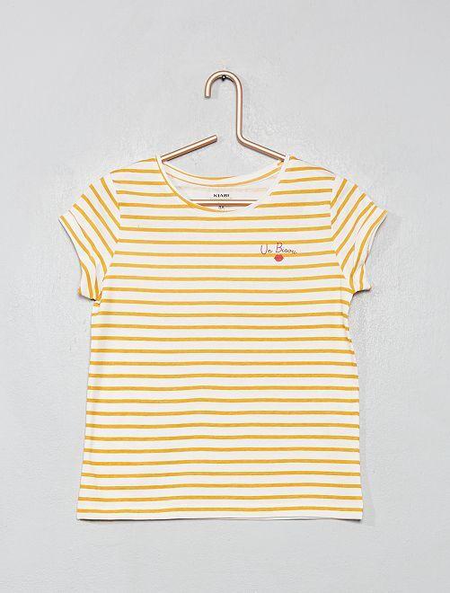 T-shirt imprimé 'éco-conception'                                                                                                                                                                                                                                                     écru/jaune rayé