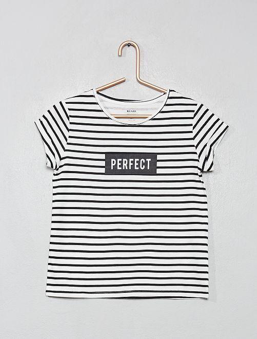 T-shirt imprimé 'éco-conception'                                                                                                                                                                                                                                                     écru/noir rayé
