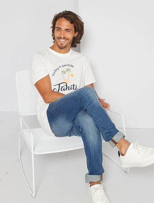 T-shirt imprimé 'éco-conception'                                                                                                                                         écru/paradise