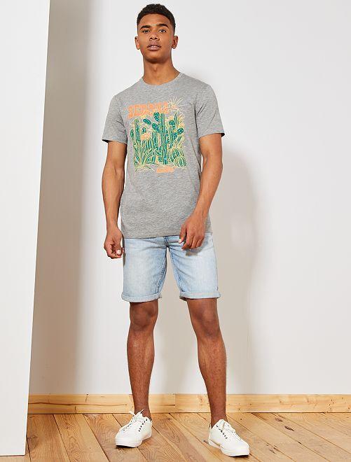 T-shirt imprimé Eco-conception                                                                                                                                         gris chiné cactus Homme