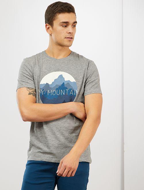T-shirt imprimé 'éco-conception'                                                                 gris chiné mountain