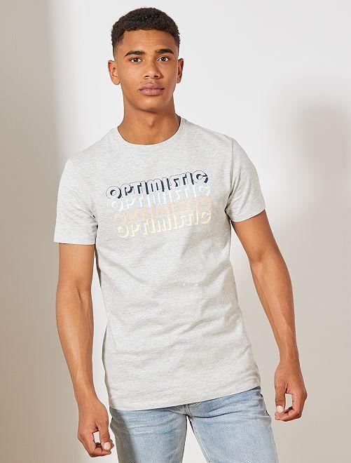 T-shirt imprimé éco-conception'                                                                                                                             gris chiné optimistic Homme