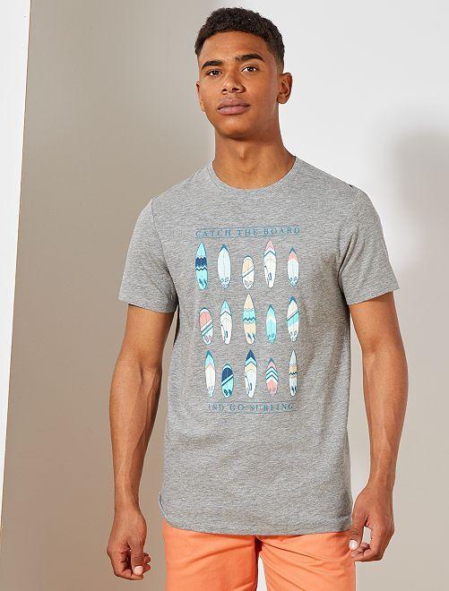 T-shirt imprimé Eco-conception                                                                                                                                         gris chiné surf Homme