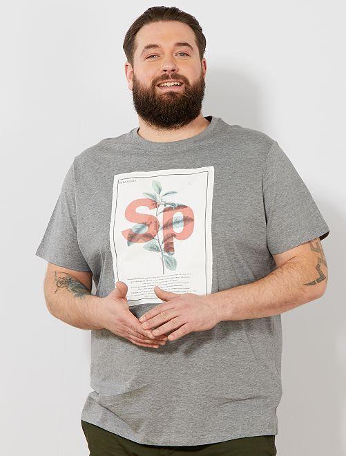 T-shirt imprimé 'éco-conception'                                                                                         gris clair chiné patch Grande taille homme