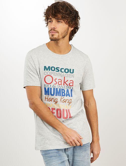 T-shirt imprimé 'éco-conception'                                                                                                                                         gris clair city