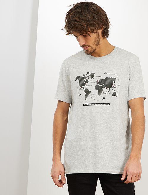 T-shirt imprimé 'éco-conception'                                                                                                                                                                 gris clair map