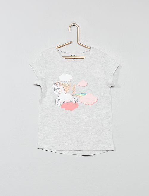 T-shirt imprimé 'éco-conception'                                                                                                                                                     gris licorne Fille