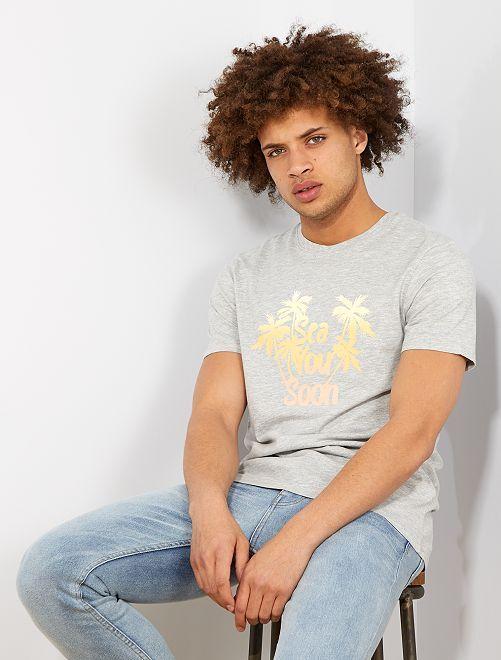 T-shirt imprimé 'éco-conception'                                                                                                     gris palmier