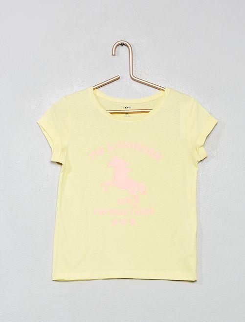 T-shirt imprimé 'éco-conception'                                                                                                                                                                                                                                                     jaune fluo