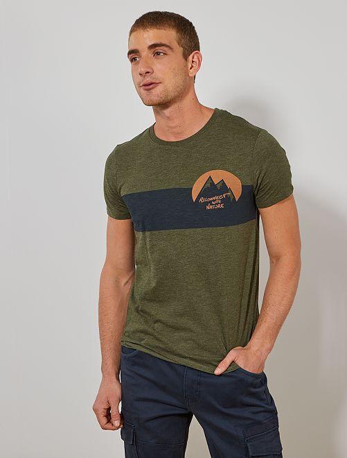 T-shirt imprimé 'éco-conception'                                                                                                     kaki chiné