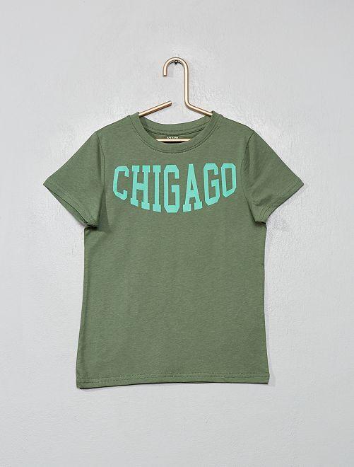T-shirt imprimé 'éco-conception'                                                                                                                                                     kaki/chicago