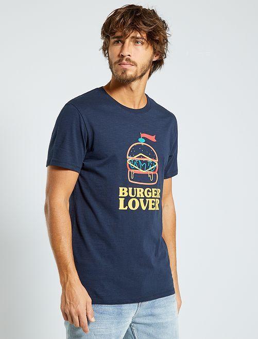 T-shirt imprimé 'éco-conception'                                                                                                                                                                 marine/burger