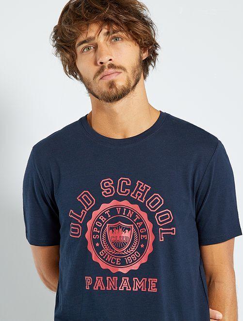 T-shirt imprimé 'éco-conception'                                                                                                                                                                 marine/rouge
