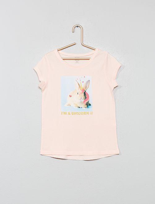 T-shirt imprimé 'éco-conception'                                                                                                                                                     rose lapin