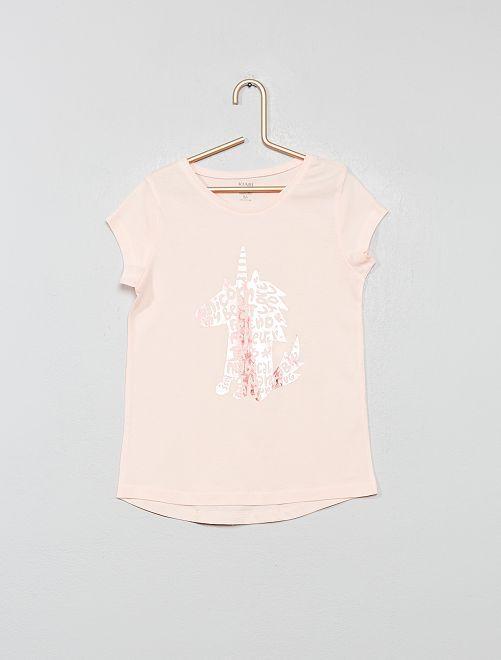 T-shirt imprimé 'éco-conception'                                                                                                                                                     rose licorne