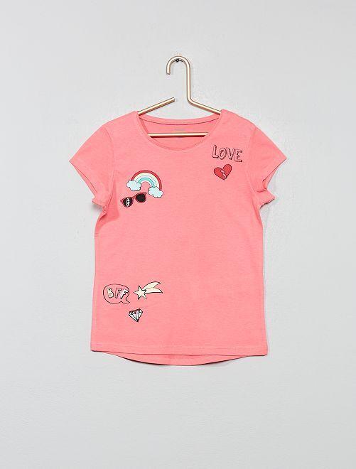 T-shirt imprimé 'éco-conception'                                                                                                                                                     rose patch