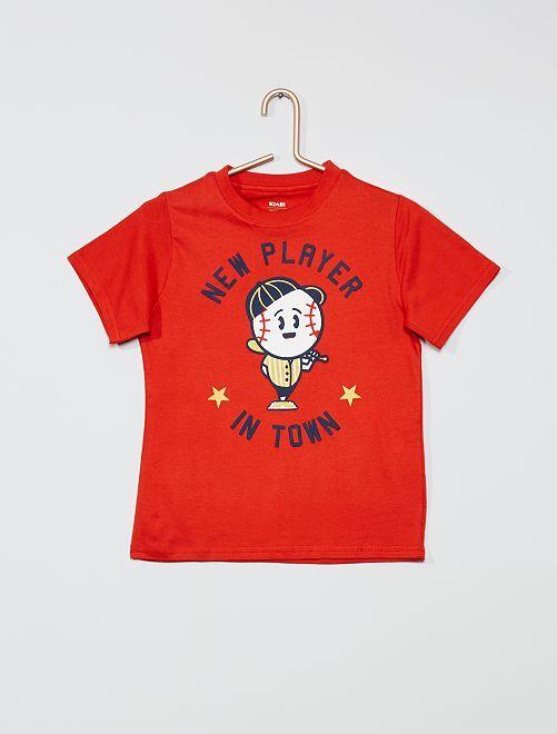 T-shirt imprimé 'éco-conception'                                                                                                                                                                                         rouge/baseball