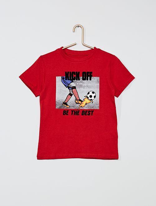 T-shirt imprimé 'éco-conception'                                                                                                                                                                                         rouge/foot