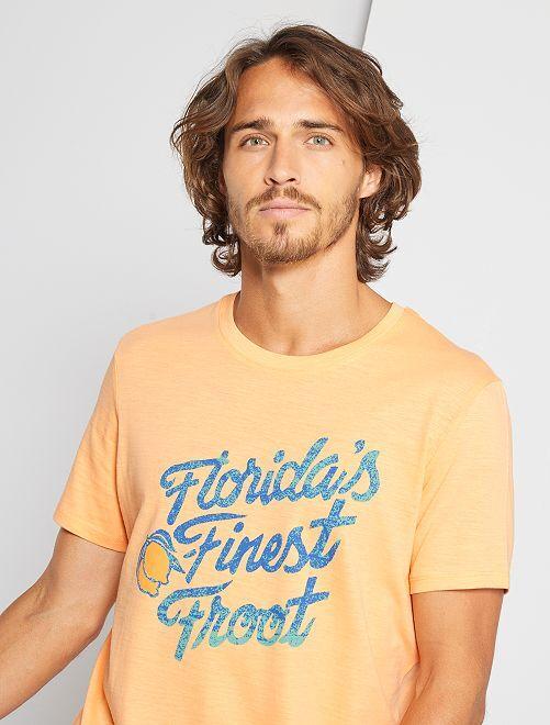 T-shirt imprimé 'éco-conception'                                                                                                                                         saumon/florida