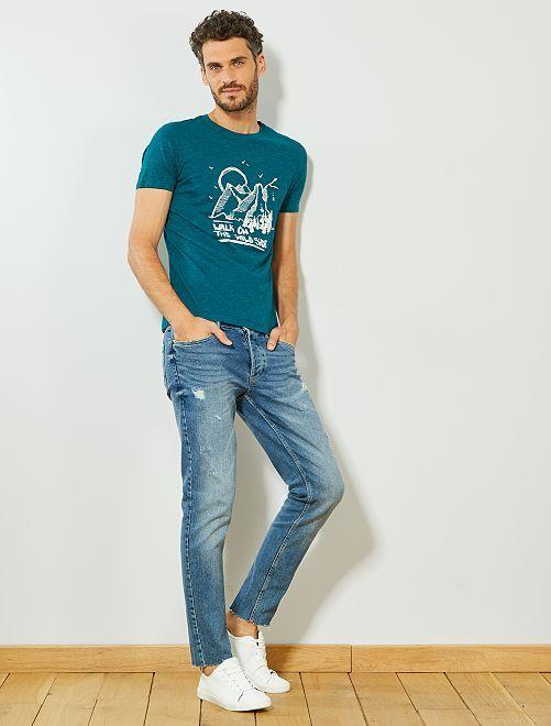 T-shirt imprimé 'éco-conception'                                                                                                     vert chiné
