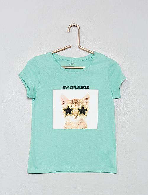T-shirt imprimé 'éco-conception'                                                                                                                                                                                                                                         vert d'eau
