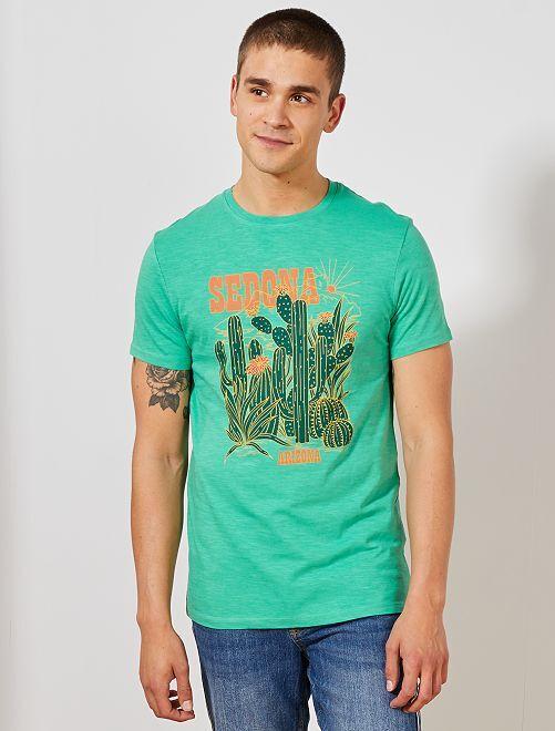 T-shirt imprimé Eco-conception                                                                                                                                         vert sedona Homme