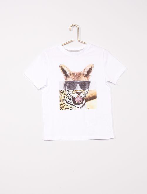 T-shirt imprimé éco-conçu                                                                                                     blanc animal