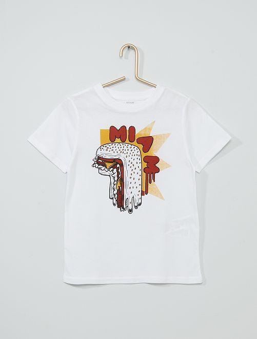 T-shirt imprimé éco-conçu                                                                                                                 blanc burger