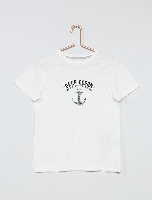 T-shirt imprimé éco-conçu                                         blanc cassé
