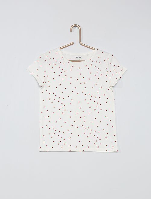 T-shirt imprimé éco-conçu                                                     blanc coeurs