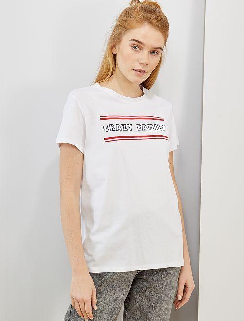 T-shirt imprimé éco-conçu                                                                                                                                                                                                                                                                             blanc crazy family