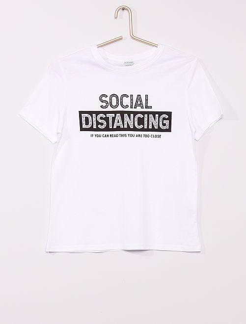 T-shirt imprimé éco-conçu                                                                                                                                                                                                                                                                             blanc
