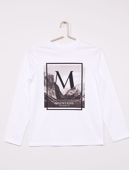 T-shirt imprimé éco-conçu                                                                                                                                                                                                                 blanc montagne