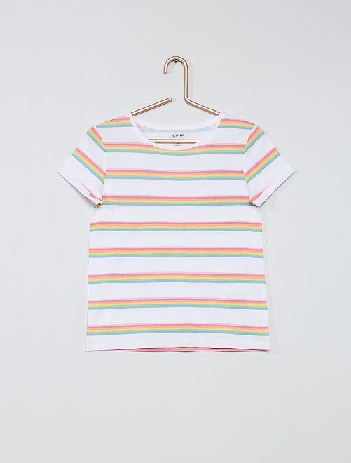 T-shirt imprimé éco-conçu                                                     blanc rayé