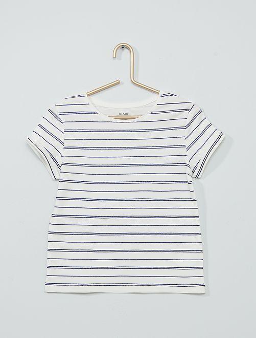 T-shirt imprimé éco-conçu                                                     blanc/bleu