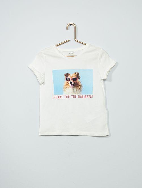 T-shirt imprimé éco-conçu                                                                             blanc/chien