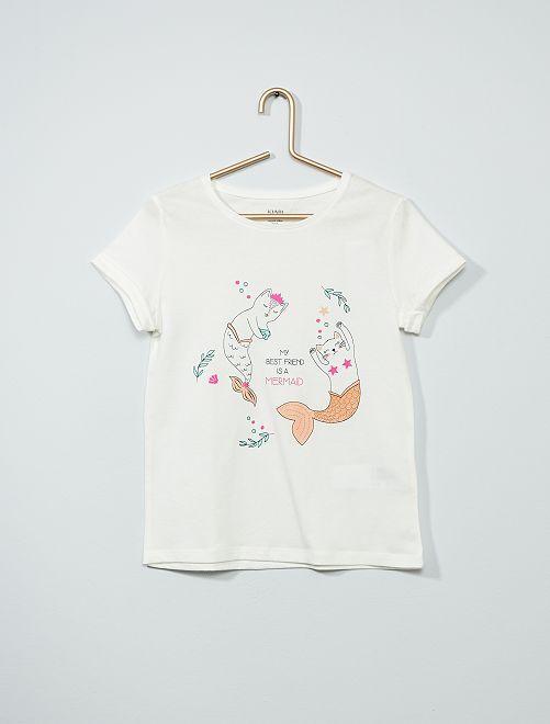 T-shirt imprimé éco-conçu                                                                             blanc/sirène