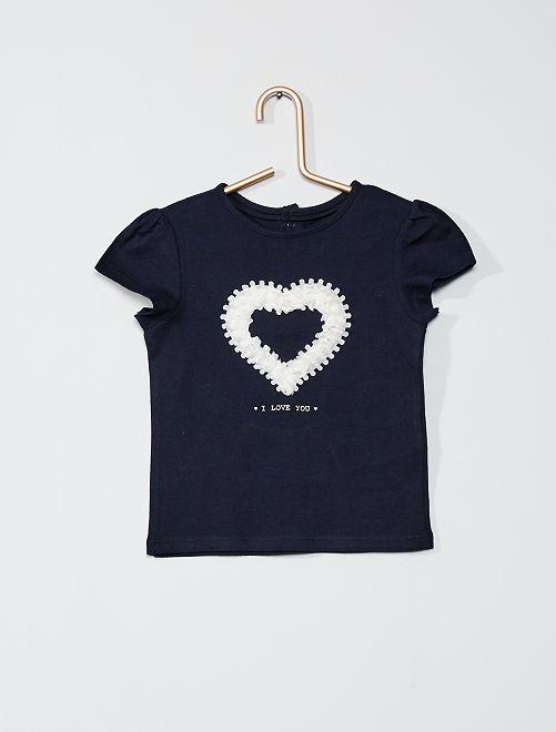 T-shirt imprimé 'éco-conçu'                                                                 bleu marine cœur