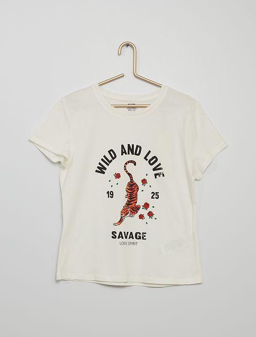 T-shirt imprimé éco-conçu                                                                                                                                                                                                                                                     écru